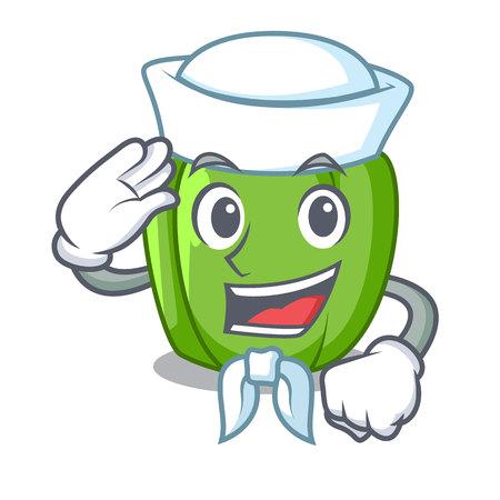 Sailor green pepper in the plate character vector illustration Illustration
