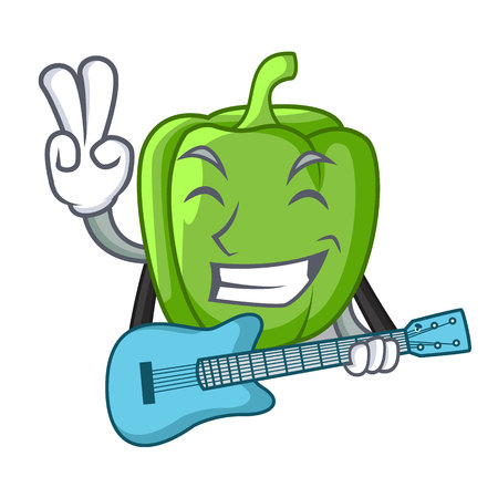 With guitar cartoon fresh green pepper in the kitchen vector illustration