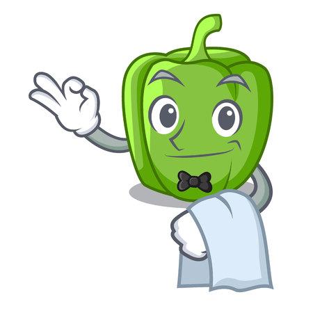 Waiter cartoon fresh green pepper in the kitchen vector illustration
