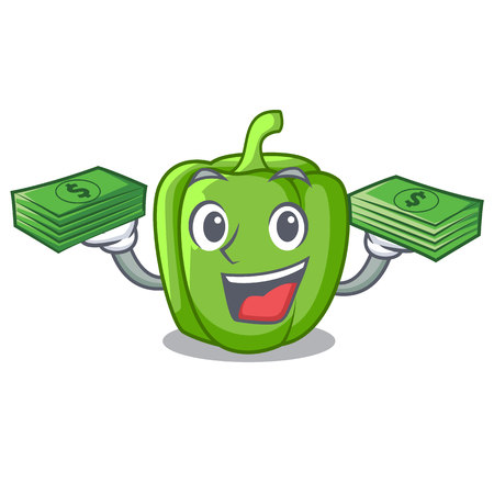 With money cartoon fresh green pepper in the kitchen vector illustration