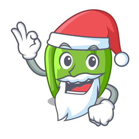 Santa green bell peppers isolated on mascot vector illustration