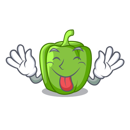 Tongue out green bell peppers isolated on mascot vector illustration
