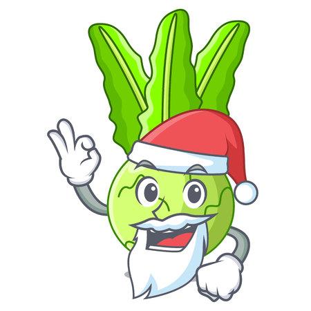 Santa fresh cabbage kohlrabi on the mascot Ilustracja