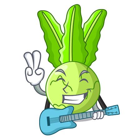 With guitar cooking food fresh organic kohlrabi cartoon vector illustration