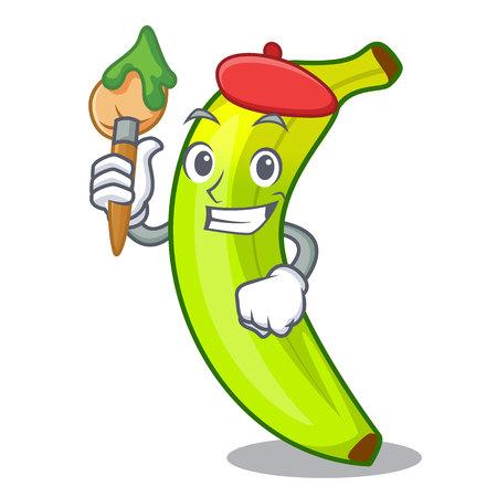 Artist green banana cartoon in the market vector illustration