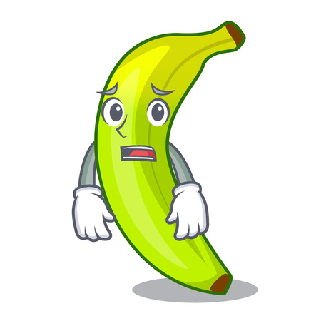Afraid a organic fruit green banana cartoon vector illustration