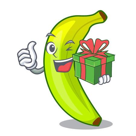 With gift a organic fruit green banana cartoon vector illustration