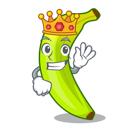 King fruit green bananas isolated on mascot vector illustration