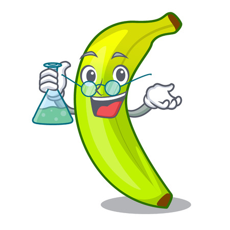 Professor character natural fruit fresh green banana vector illustration Illustration