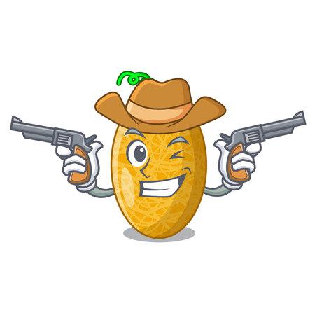 Cowboy fresh honeydew melon on cartoon table