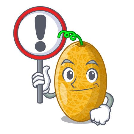 With sign fresh honeydew melon on cartoon table Ilustração