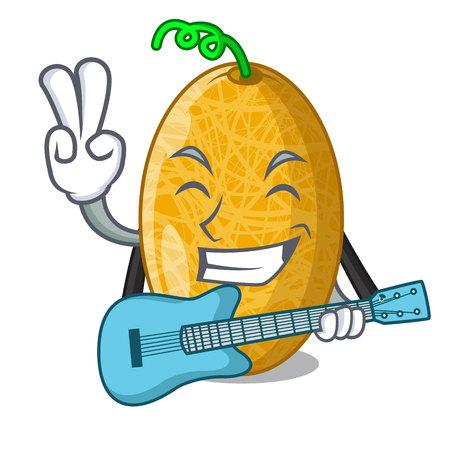 With guitar sweet honeydew melon on bowl cartoon Stock Illustratie