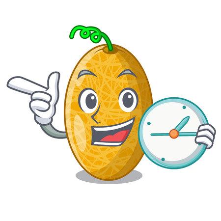 Mit Uhr reifen Honigtau Melone in Markt Cartoon Vektor-Illustration