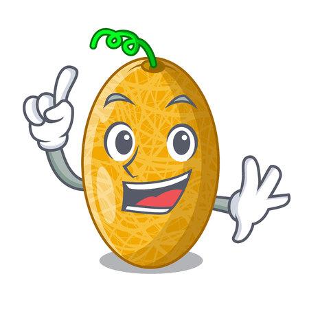 Finger tasty honeydew melon isolated on mascot