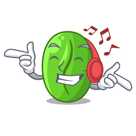 Listening music green coffee beans in cartoon bowl