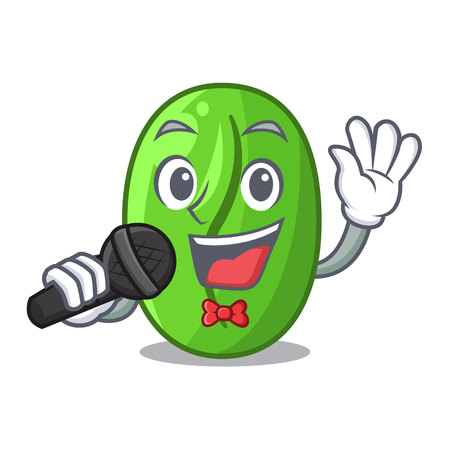Singing green coffee beans in cartoon bowl vector illustration
