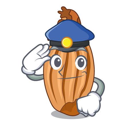 Police cartoon shallot onion on the table Illustration
