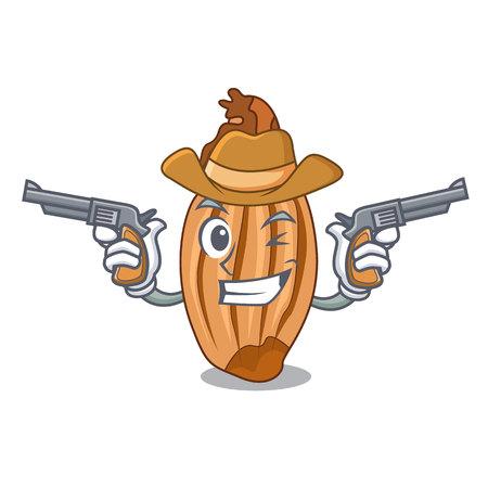 Cowboy cartoon shallot onion on the table 向量圖像