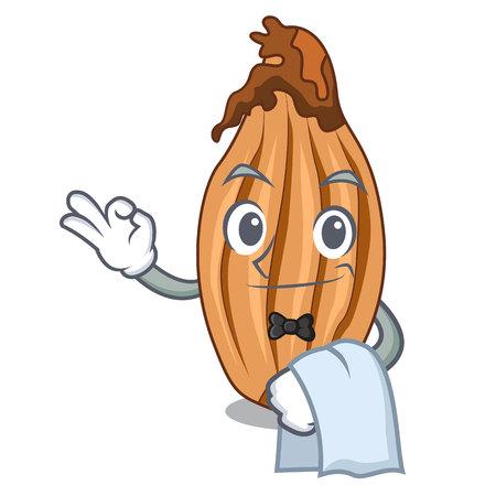 Waiter ripe shallot isolated on a mascot vector illustration