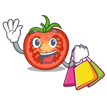 Shopping cartoon tomato slices on chopping board Vectores