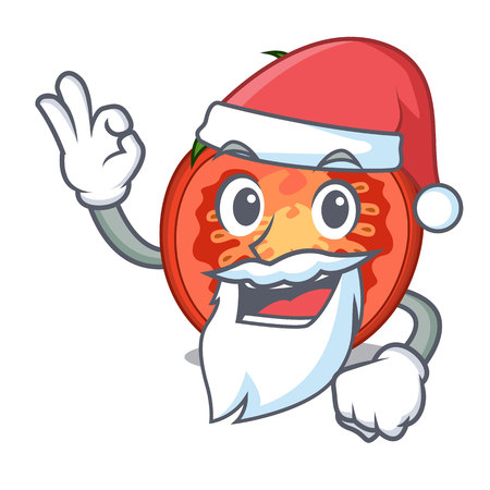 Santa red tomato slices isolated on mascot Stock Photo