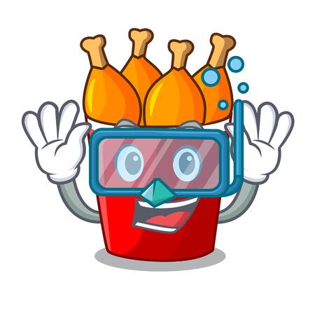 Diving fried chicken in red bucket cartoon vector illustration Çizim