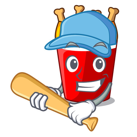 Playing baseball character bucket chicken fried fast food Ilustração