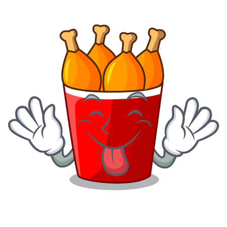 Tongue out fried chicken bucket isolated on mascot vector illustration