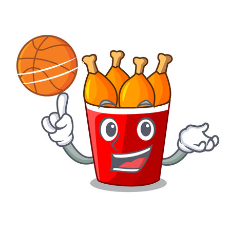 With basketball character bucket chicken fried fast food Banco de Imagens