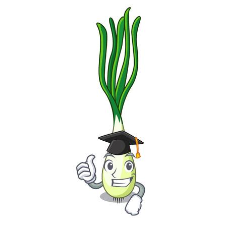 Graduation cartoon fresh green onions on cutting board Vetores
