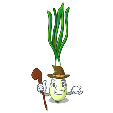 Witch cartoon fresh spring onion for cooking vector illustration 일러스트