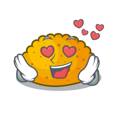 In love fried patties isolated on the mascot vector illustration