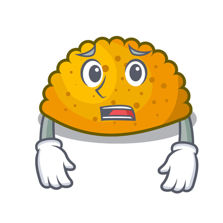 Afraid fried patties isolated on the mascot vector illustration