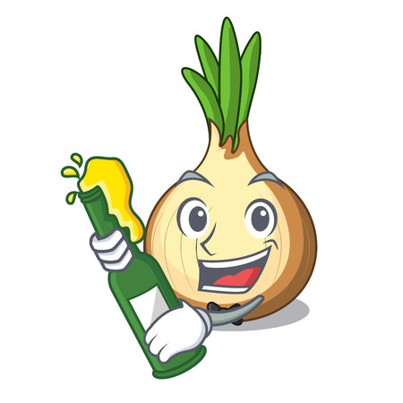With beer fresh yellow onion isolated on mascot vector illustration
