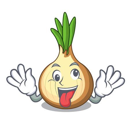 Crazy fresh yellow onion isolated on mascot vector illustration 일러스트