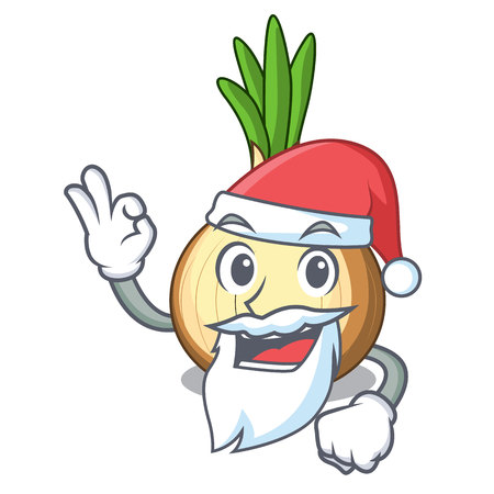 Santa fresh yellow onion isolated on mascot vector illustration