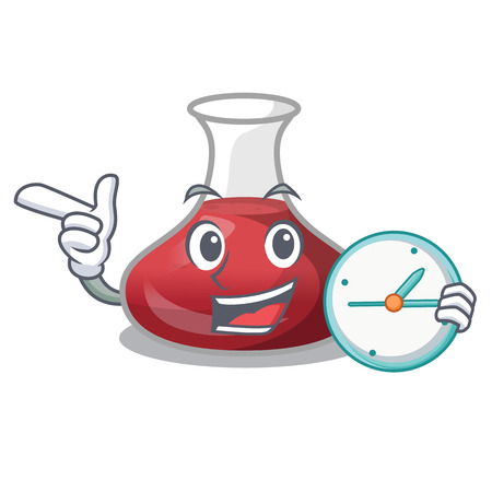 With clock delicious red wine with cartoon decanter vector ilustration Çizim