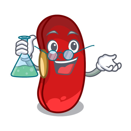 Professor red bean in the cartoon bowl