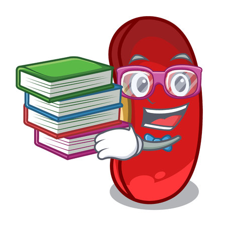 Student with book red beans pile isolated on mascot vector illustration Stockfoto