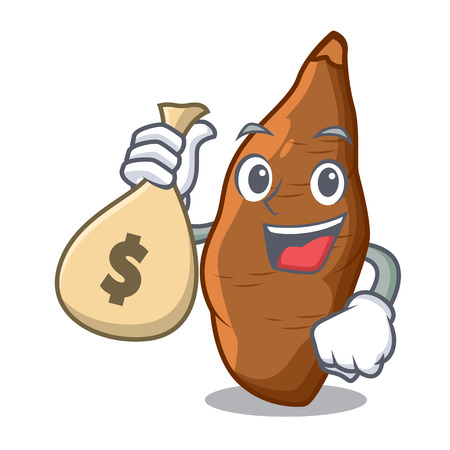 With money bag character cassava in the market fruit vector illustration