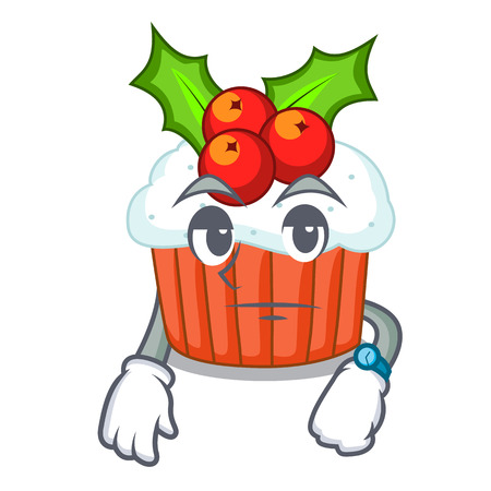 Waiting delicious christmas cupcakes isolated on mascot