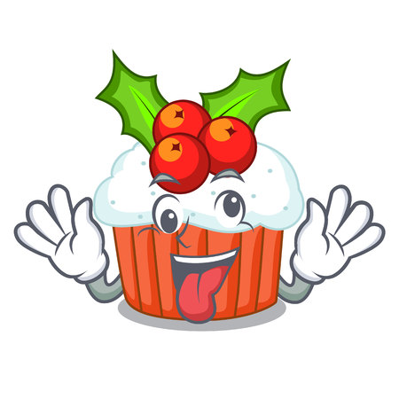Crazy delicious christmas cupcakes isolated on mascot vector illustration