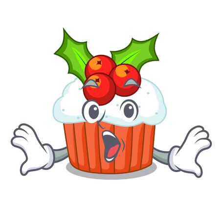 Surprised decorated christmas cupcakes cartoon for party