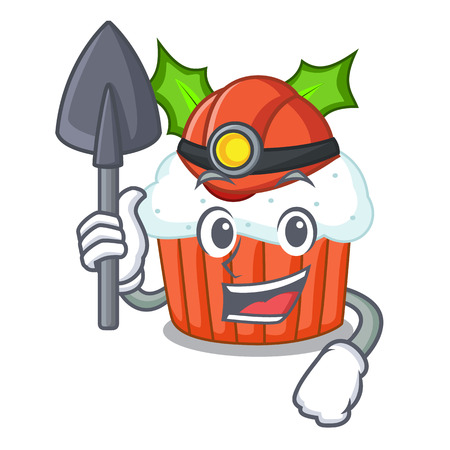 Miner decorated christmas cupcakes cartoon for party vector illustration