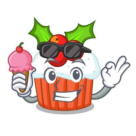 With ice cream cartoon homemade christmas cupcakes with sprinkles