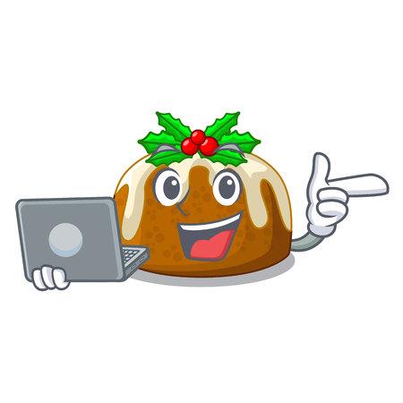 Pudding de Noël traditionnel avec caractère portable sur plaque