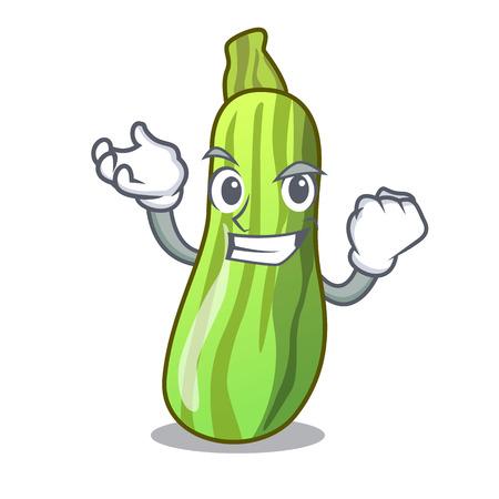 Successful fresh organic zucchini in cartoon bowl vector illustration