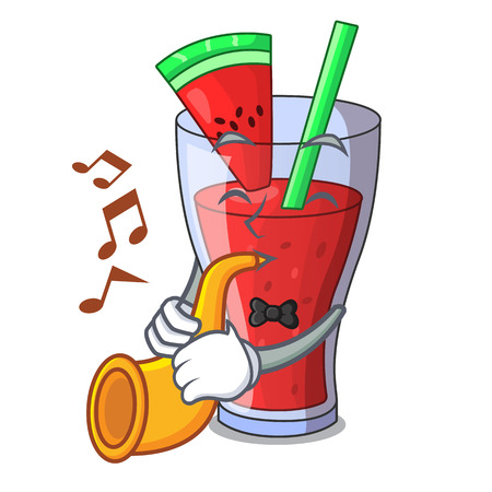 With trumpet watermelon juice with watermelon fruit cartoon vector illustration