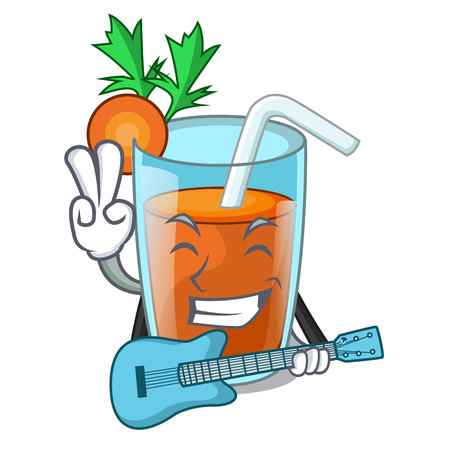 With guitar fresh smoothie carrot in cartoon table