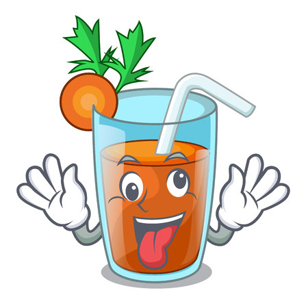 Crazy sweet carrot juice isolated on mascot